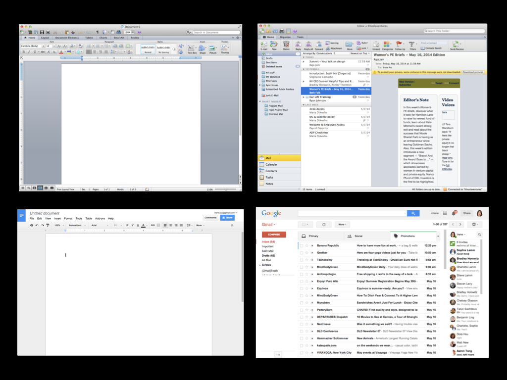 Microsoft Office and Outlook vs. Google Docs and Gmail